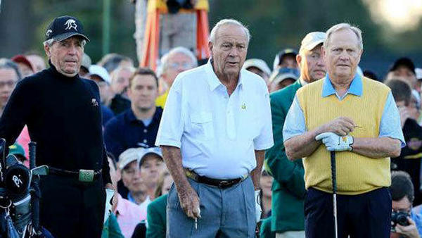 Gary Player, left, Arnold Palmer and Jack Nicklaus on the first tee at Augusta National on Thursday.