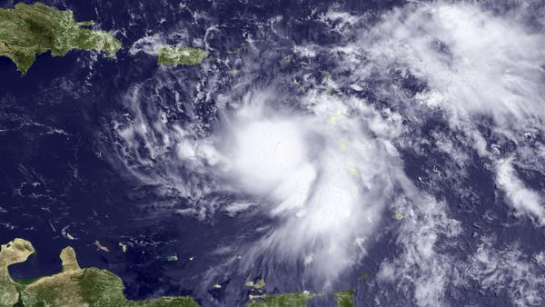A satellite image shows Tropical Storm Emily, the fifth named storm of the Atlantic Hurricane Season 2011.