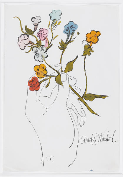 Andy Warhol, Hand with Flowers, 1956, offset lithograph and watercolor on paper.
