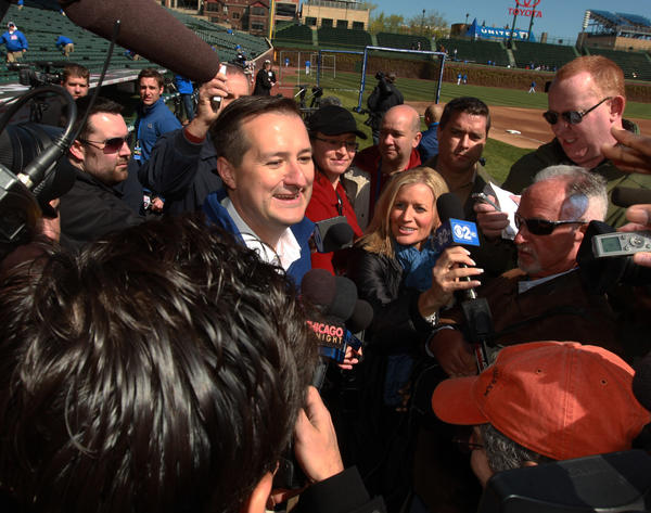Cubs owner Tom Ricketts arrives at Wrigley Field ahead of the Cubs home opener against the Washington Nationals.
