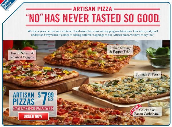 "A screenshot of Domino's new ""No"" advertising campaign, which tells consumers that they can't add or substitute ingredients."
