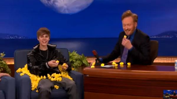 Justin Bieber, a Peeps fan, is pelted by the marshmallow treats on Conan O'Brien's show last year.