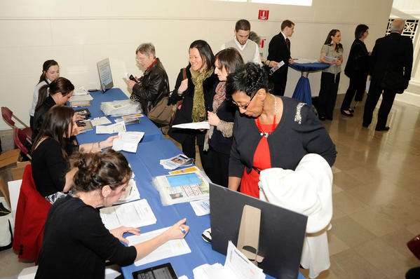 Attendees check in at the Field Museum