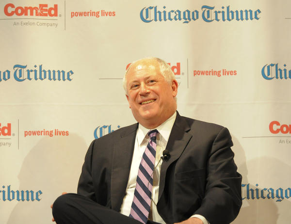 Governor Pat Quinn onstage at the Field Museum's James Simpson Theater