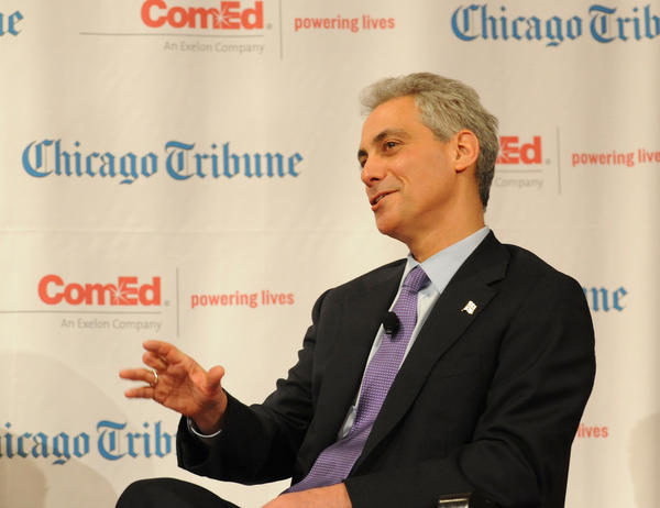 Mayor Rahm Emanuel onstage at the Field Museum's James Simpson Theater