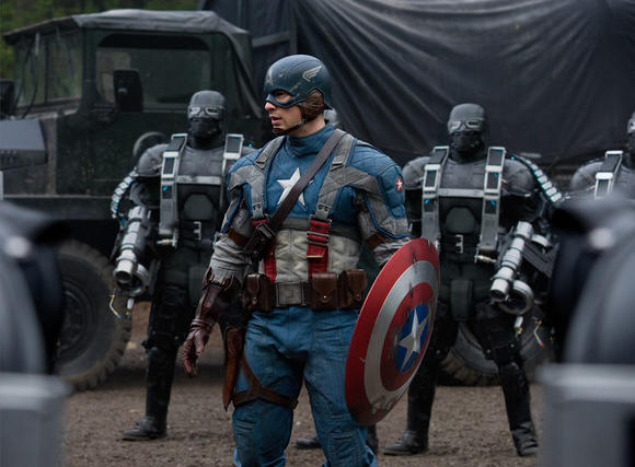 Have shield, will shoot: Chris Evans as Captain America