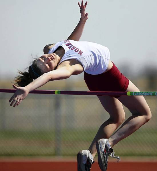 Northern State University's Leandra Schlecht goes over the bar in the high jump event during the women's heptathlon Thursday at Swisher Field. photo by john davis taken 4/5/2012
