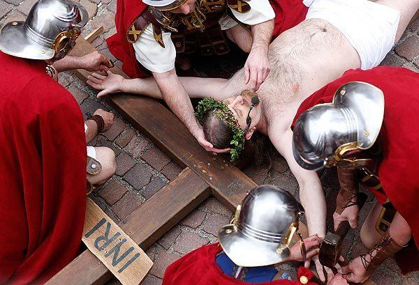 Actors in Bensheim, Germany, take part in a Good Friday reenactment of the crucifixion of Jesus.