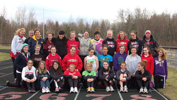 The 2012 Johannesburg-Lewiston girls' track team (front row l-r): Ashley Courterier, Allison Lapointe, Tori Mager, Chloe Lemcool, Nadine Peterson, Julia Nieman, Chloe Johnston, Gertrude Heidman; (middle row l-r): Raynie Humel, Morgan Fisher, Jena Teceno, Heather Galehouse, Beth Bucy, Viktoria Nickert, Sarah Hofer, Maggie Holt, Ashley Schafer, Bre Kennedy; (back row l-r): Marianne Thorstad, Desira Carroll, Aurora Lawrence, Stephanie Persyn, Meghan Makranyi, Abbie May, Gabby Coppersmith, Meridith DeLuca, Mckenzie Mathewson, Emma Lawrence, Shannon Kievet