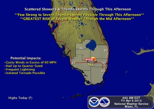 Storms could develop throughout the afternoon across South Florida.