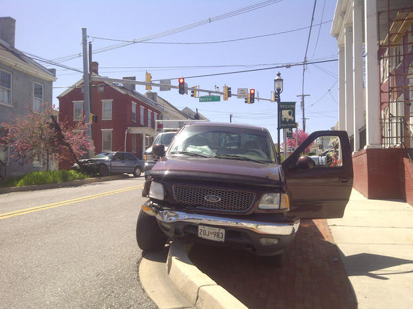 An F-150 pickup truck heading eastbound on National Pike collided with a Honda Civic heading northbound on Martin Street Friday afternoon in Clear Spring, according to Deputy Jay Mills of the Washington County Sheriff's Department.