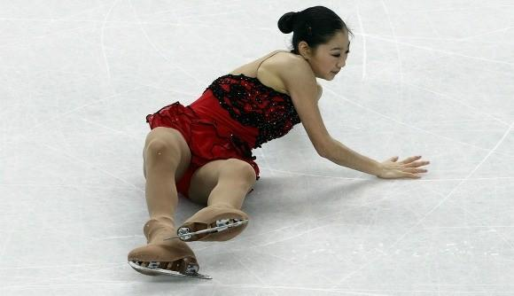 Mirai Nagasu down and out at the 2010 World Figure Skating Championships.
