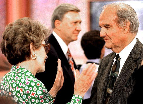 Former First Lady Nancy Reagan chats with former U.S. Sen. George S. McGovern at an event at the Ronald Reagan Presidential Library in Simi Valley.