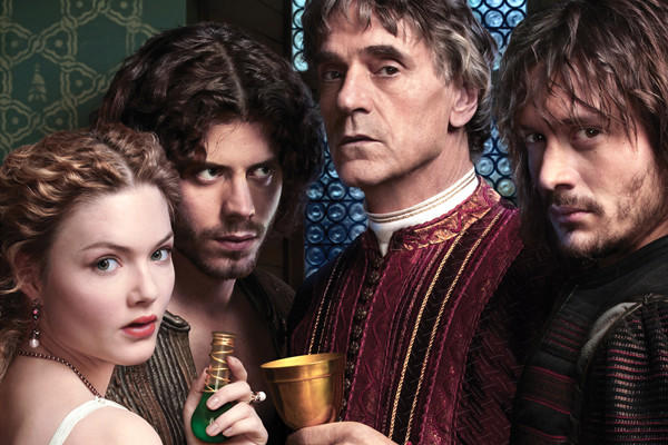"Holliday Grainger, Francois Arnaud, Jeremy Irons and David Oakes in ""The Borgias."""