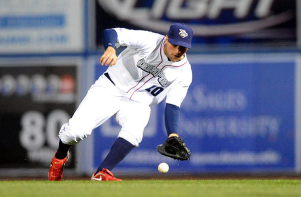 Lehigh Valley IronPigs' infielder Cody Overbeck (10) fields a ground ball during their game against the Scranton Wilkes-Barre Yankees at Coca-Cola Park in Allentown Friday night.