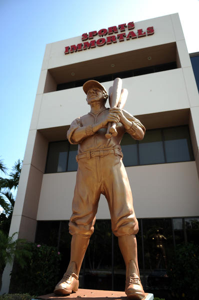 A statue of Babe Ruth greets visitors to the Sports Immortals Museum in Boca Raton.   In 1997 owners Joel Platt and his son Jim caused a stir among city officials when they painted Yankees pin stripes on the statue.  The Platts were forced to paint the statue bronze. Mark Randall, South Florida Sun Sentinel