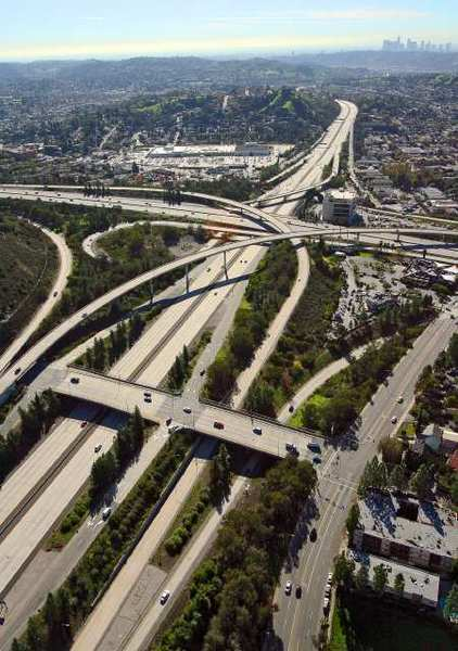 Aerial view of the 2 and 134 freeway intersection in Glendale in December 2010. Officials are embarking on a project to improve traffic on surface streets between the two freeways.