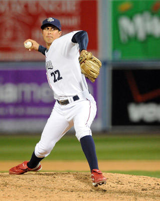 Lehigh Valley IronPigs' pitcher Brian Sanches (22) delivers a pitch during their game against the Scranton Wilkes-Barre Yankees at Coca-Cola Park in Allentown Friday night.