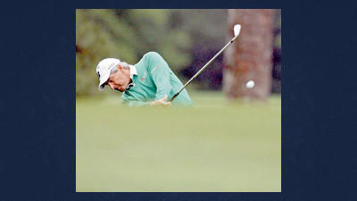 Fred Couples hits off the first fairway during the second round of the Masters golf tournament Friday in Augusta, Ga.