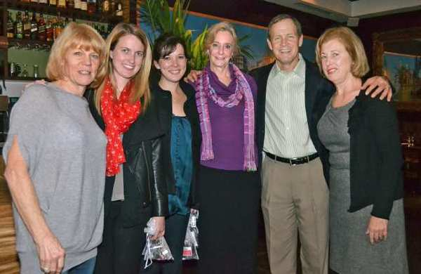"Taking part in ""Dinners From the Heart"" at Cucina Rustica in Montrose are, from left, Annsley Strong, advisory board of Hathaway-Sycamores; Noelle Kenny; Paige Kenny; Paulette Lang, member of governing board for Hathaway-Sycamores; Rob Myers, executive vice president of Hathaway-Sycamores, and Mary Pinola, member of advisory board."