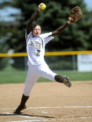 Lehigh's pitcher Emily Bausher (2) delivers a pitch against Bucknell University in game 1 of their double-header Saturday afternoon.