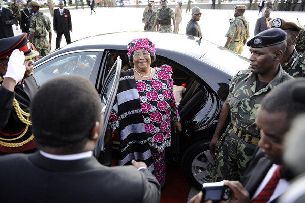 "Joyce Banda gets out of a car during her inauguration on April 7, 2012 as Malawi's new president, becoming its first female leader in a ceremony in the capital Lilongwe. Joyce Banda was on Saturday sworn in as Malawi's first woman president and told her supporters there was ""no room for revenge"" after the divisive Bingu wa Mutharika died in office."