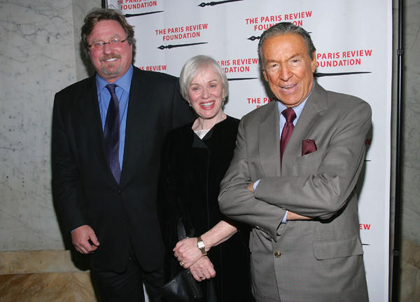 Mike Wallace with his wife Mary and stepson Eames Yates at The Paris Review Foundation Presents Fall Revel Honoring William Styron in 2004.