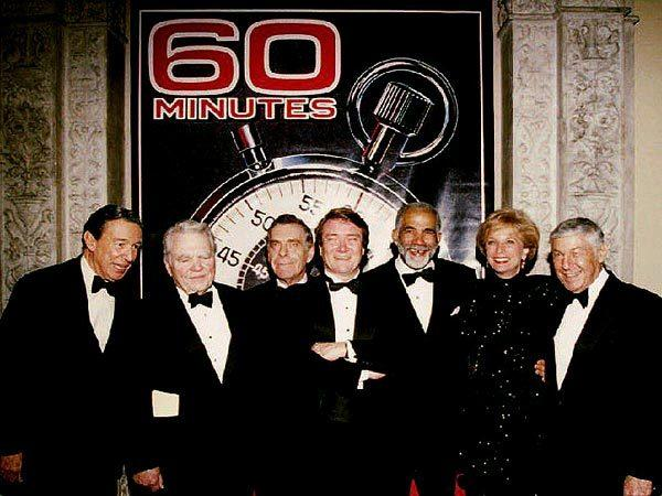 "Members of the ""60 Minutes"" staff gather at the Metropolitan Museum of Art in New York on Nov. 10, 1993, to celebrate the newsmagazine's 25th anniversary. From left are: Mike Wallace, Andy Rooney, Morley Safer, Steve Kroft, Ed Bradley, Leslie Stahl and the show's executive producer, Don Hewitt."