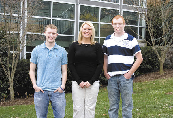 From left, Hagerstown Community College scholarship recipients Damian Murphy, Alison Griffith and Cody Swope.