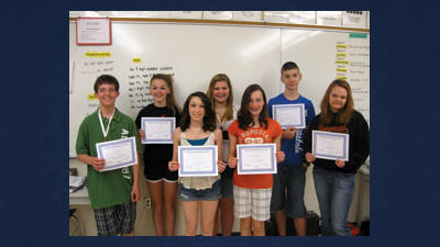 Top scorers in 8th grade were from left, front row: Willis Walker, Madie Baldwin, Maddy Buss, Brieanna Kabina. Back row: Chandler Marteeny, Bethany Benning and Gregory Little. Absent from photo is Homer Gardner, Richard Raju, Haylee Rohrer, Allen Miller and Dakota Gary.
