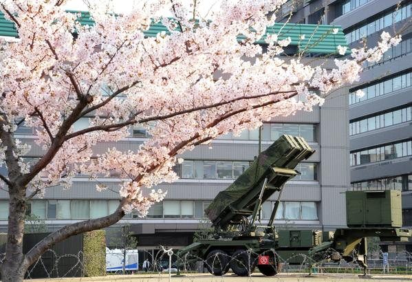 A Patriot Advanced Capability-3 (PAC-3) missile launcher is set under fully bloomed cherry trees at the Defence Ministry in Tokyo on April 9, 2012. Japan has deployed missile batteries in Tokyo and dispatched destroyers carrying interceptor missiles as it boosts its defences against a planned North Korean rocket launch.