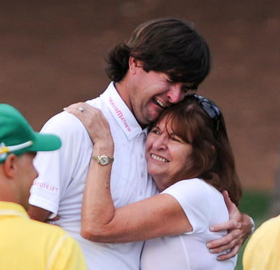 Bubba Watson of the US celebrates winning the 76th Masters golf tournament in a play-off against Louis Oosthuizen of South Africa with his mother Molly Watson at Augusta National Golf Club on April 8, 2012 in Augusta, Georgia.