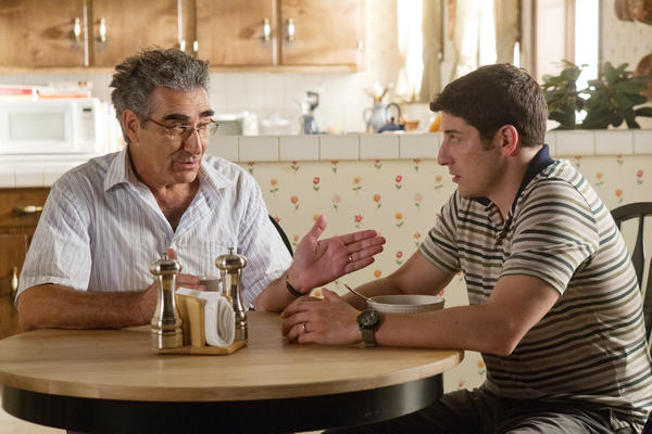 "In this image released by Universal Pictures, Eugene Levy, left, and Jason Biggs are shown in a scene from ""American Reunion""."