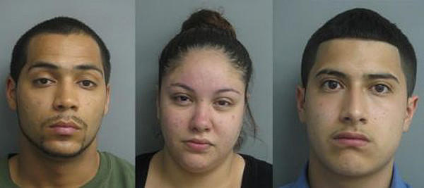 Joshua Velez, Samantha Salinas and Frank Ortiz (from left) were arrested in connection with a burglary in a La Grange home.