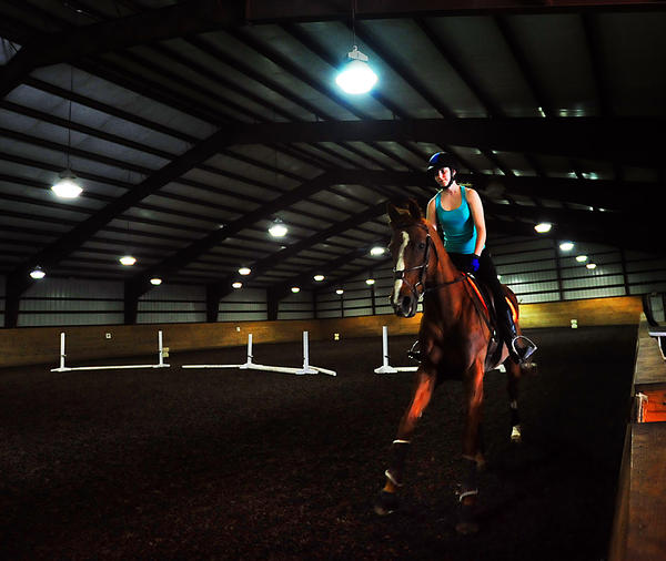 Michelle Calka exercises Boomer April 4 in a riding barn at Wilson College in Chambersburg, Pa., where she is a student in the equestrian program and the 16-year-old horse is a boarder.