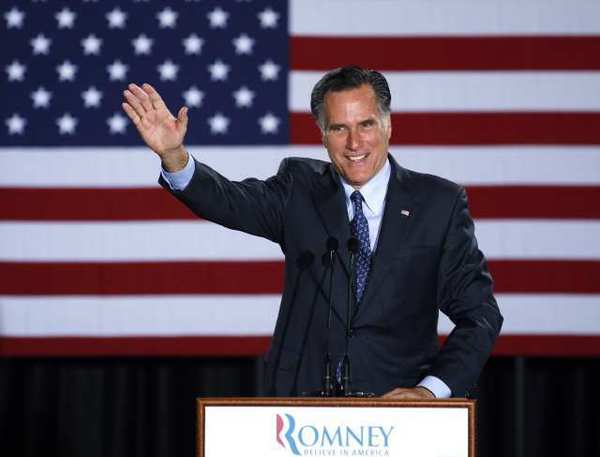 Mitt Romney declares victory in the Wisconsin presidential primary at the Grain Exchange in Milwaukee.