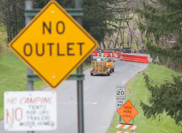 The main entrance to the Allentown Parkway, Park Drive, off 15th street, is down to one lane for incoming traffic only for the next three months while repairs are made to a retaining wall.
