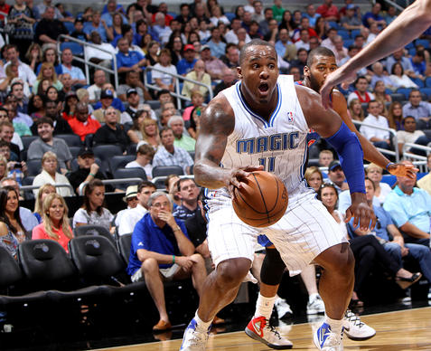 Magic forward Glen Davis dribbles during their game against the Detroit Pistons at the Amway Center on April 9, 2012.