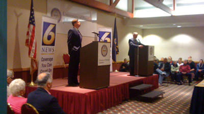 As colleagues turned competitors by GOP-led redistricting, U.S. Reps. Mark Critz and Jason Altmire spent Monday evening drawing distinctions between their stances.The Democratic congressmen debated for an hour at the University of Pittsburgh at Johnstown, each hoping for an edge going into the primary on April 24.