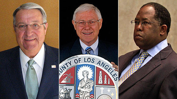 From left are L.A. County supervisors Don Knabe, Michael D. Antonovich and Mark Ridley-Thomas. Despite little competition for reelection, the three are amassing sizable political war chests.
