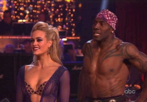 "Donald Driver and Peta Murgatroyd await the judges' reaction after their paso doble on ""Dancing With the Stars."""