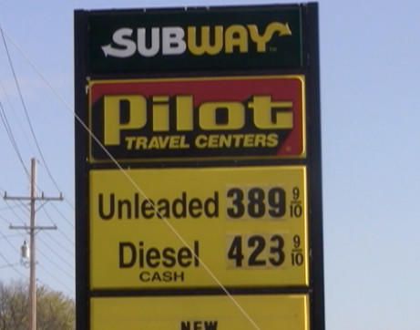 The Pilot Travel Center on Greencastle Pike just off of Interstate 70 at Exit 24, was selling regular grade gas at $3.89 per gallon. However, at $4.23 per gallon.