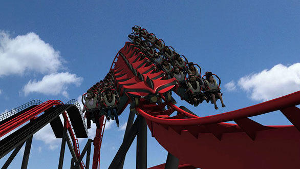After ascending a 120-foot-tall lift hill, X-Flight at Six Flags Great America will immediately descend at 55 mph into a series of twists, turns and inversions.