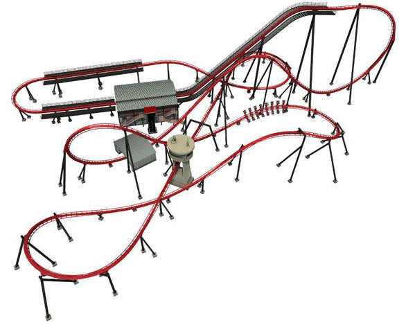 An overview of the X-Flight wing coaster track layout at Six Flags Great America.