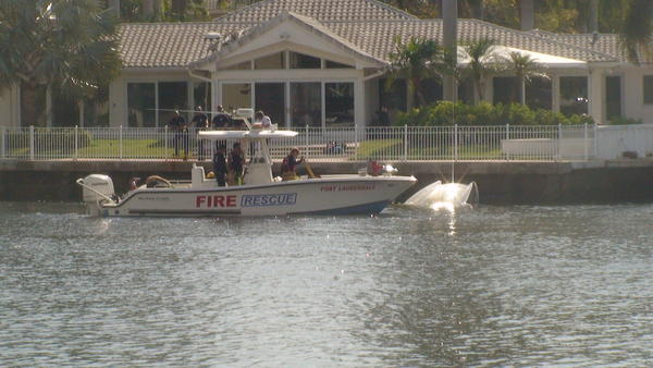 Three adults and three children survived a boat fire in the Intracoastal Waterway by jumping into the water before the flaming boat capsized.