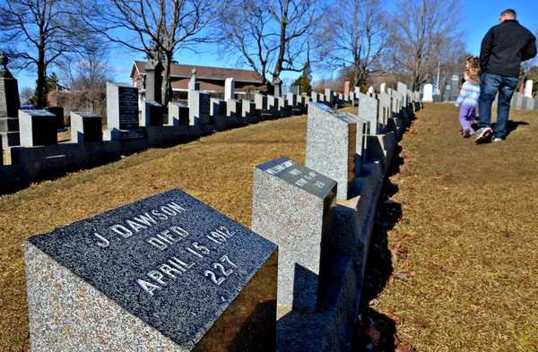 "The J. Dawson grave stone in Halifax's Fairview Lawn Cemetery is for Titanic boiler-room worker Joseph Dawson, not Jack Dawson, a fictional character invented for James Cameron's ""Titanic"" and played by Leonardo DiCaprio. Still, girls have been known to cry at Dawson's grave. More than 120 Titanic victims buried in the cemetery."
