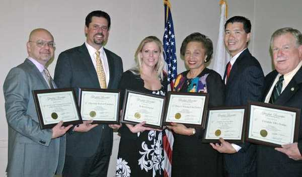 Receiving Glendale Beautiful awards are, from left, Emil Tatevosian, Scott Akerley, Mollee O'Connor, Brenda Sharp, Jimmy Kam and Hugh Scanlon. The awards luncheon was on April 3, 2012 at the Joe Bridges Clubhouse in Glendale.