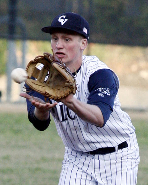 Crescenta Valley shortstop Cole Currie fields an infield ground ball against Notre Dame and throws out the runner in the Babe Herman Tournament 2012 at Stengel Field in Glendale on Tuesday, April 10, 2012.