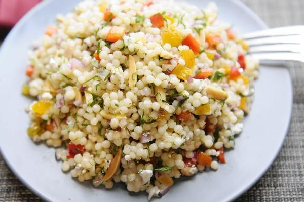 Pearl Couscous Salad has slivered almonds, red peppers, dried apricots and feta cheese at Gilt, a Moroccan style restaurant in New Haven.