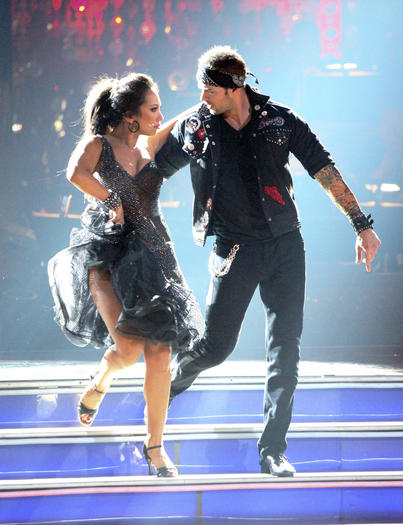 "Cheryl Burke and William Levy dance during Rock Week on ""Dancing with the Stars."""